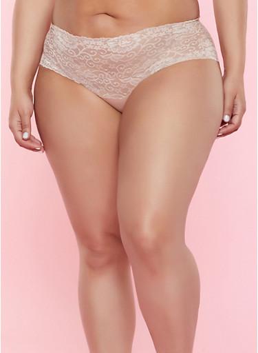 Plus Size Lace Bikini Panty,NATURAL,large