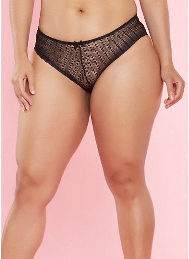 Plus Size Lace Bikini Panties,BLACK,large