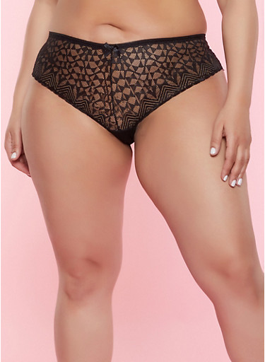 Plus Size Lace Cheeky Panty,BLACK,large