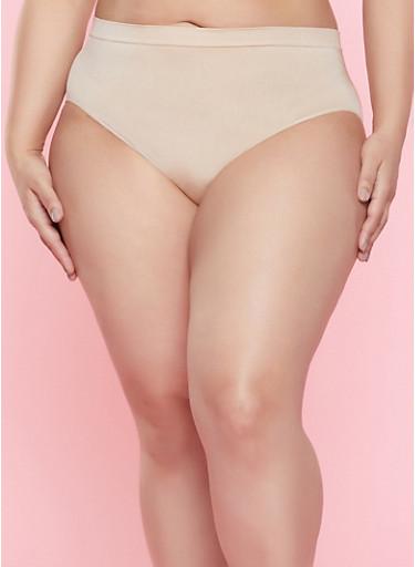 Plus Size High Waisted Bikini Panty,NUDE,large