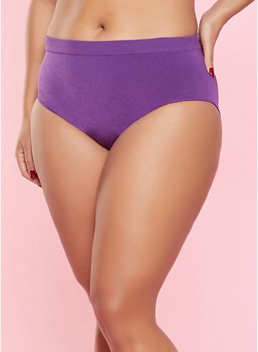 Plus Size Seamless Bikini Panty,PURPLE,large