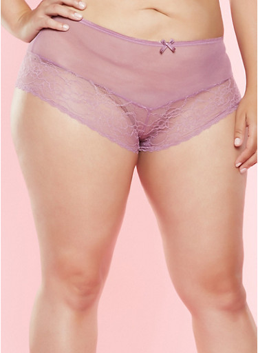 Plus Size Mesh Yoke Boyshort Panty,PURPLE,large