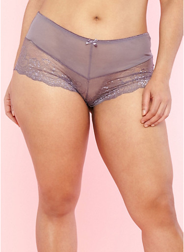 Plus Size Mesh Trim Lace Boyshort Panties,MED PURPLE,large