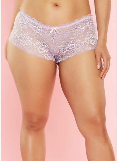 Plus Size Lace Cheeky Boyshort Panties,LILAC,large