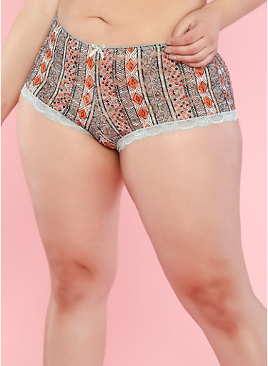 Plus Size Aztec Pattern Lace Boyshort Panties,SAGE,large