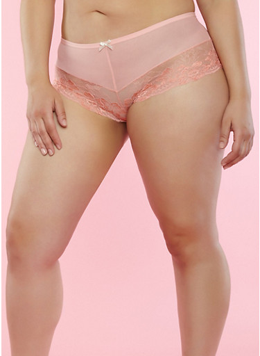 Plus Size Mesh Trim Lace Boyshort Panties,PEACH,large