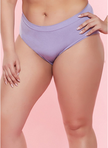 Plus Size Solid Seamless Bikini Panty,PURPLE,large