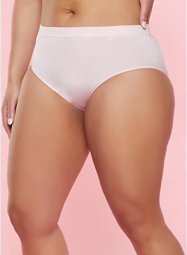 Plus Size Solid Seamless Bikini Panty,ROSE,large