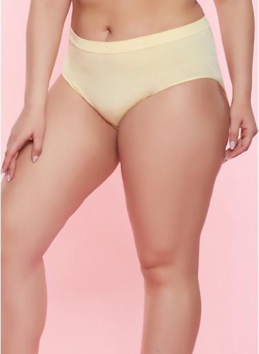 Plus Size Solid Seamless Bikini Panty,YELLOW,large