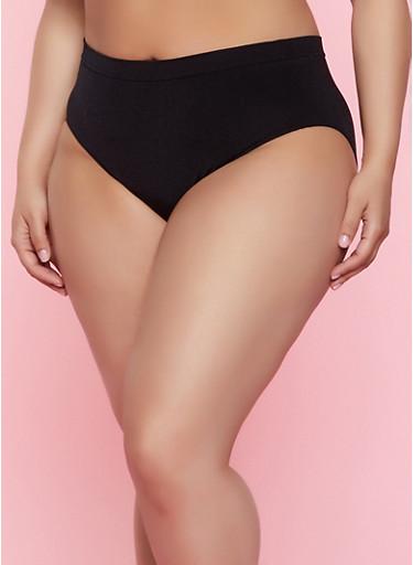 Plus Size Solid Seamless Bikini Panty | 7166064873018,BLACK,large