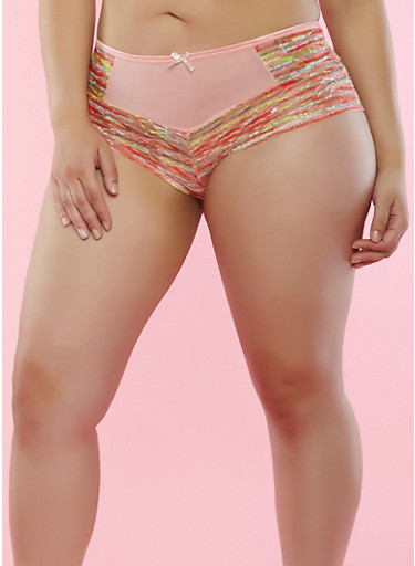 Plus Size Printed Lace and Mesh Boyshort Panties,PEACH,large