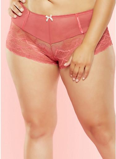 Plus Size Mesh and Lace Boyshort Panty,ROSE,large