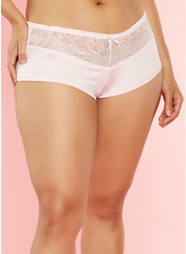 Plus Size Lace Trim Boyshort Panties,PINK,large