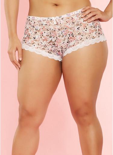 Plus Size Printed Lace Boyshort Panties,PINK,large