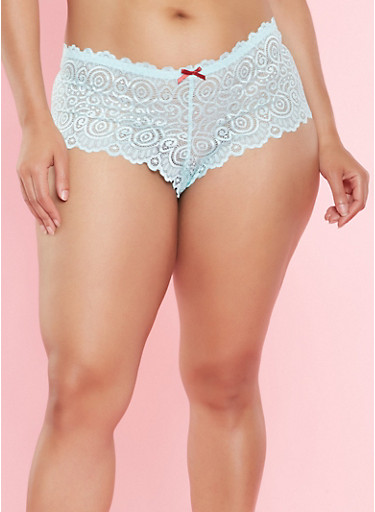 Plus Size Caged Lace Cheeky Panties,AQUA,large