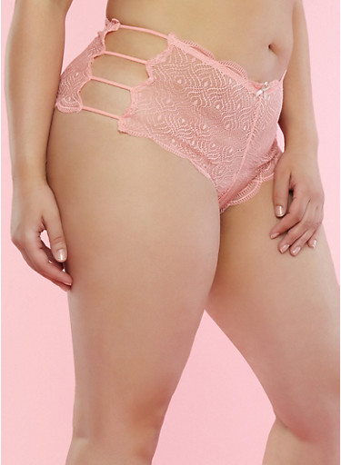 Plus Size Caged Scallop Lace Boyshort Panties,PEACH,large