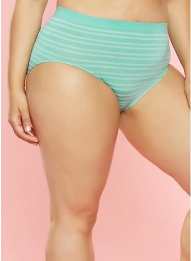 Plus Size Striped High Waisted Bikini Panty,MINT,large
