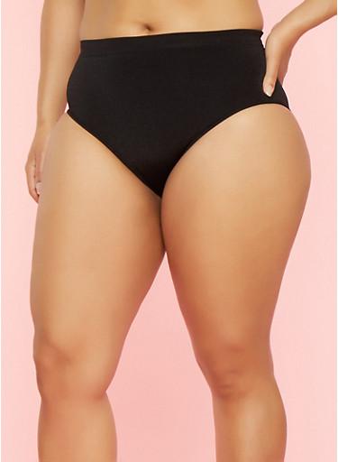 Plus Size Seamless Bikini Panties,BLACK,large