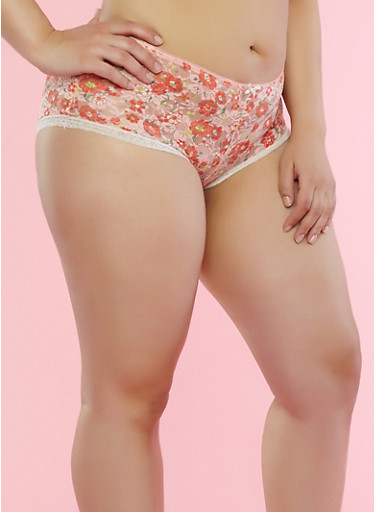 Plus Size Peach Floral Lace Boyshort Panties,PEACH,large