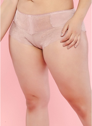 Plus Size Pink Lace Mesh Boyshort Panties,PINK,large