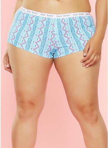 Plus Size Printed Boyshort Panties,AQUA,large