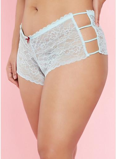 Plus Size Caged Lace Boyshort Panties,AQUA,large