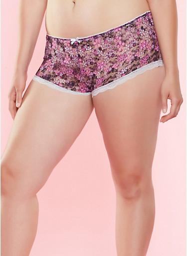 Plus Size Floral Lace Boyshort Panty,WINE,large