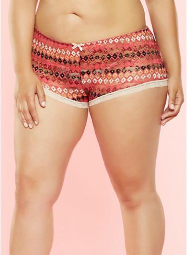 Plus Size Printed Lace Boyshort Panty,ROSE,large