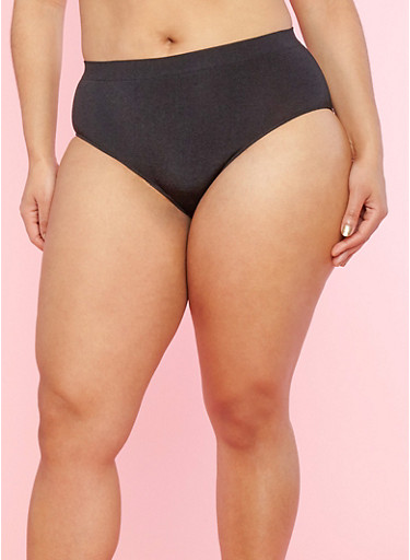 Plus Size Solid Bikini Panty,BLACK,large