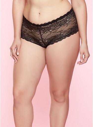 Plus Size Caged Lace Boyshort Panty,BLACK,large