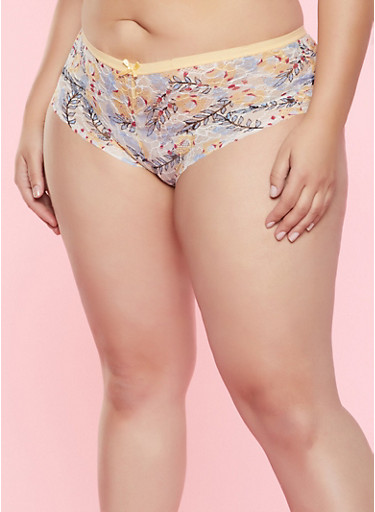 Plus Size Floral Lace Cheeky Panty,YELLOW,large