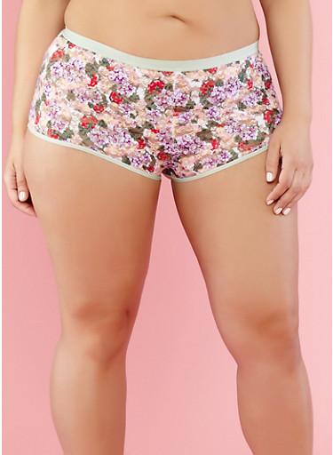 Plus Size Floral Lace Boyshort Panties | Tuggl