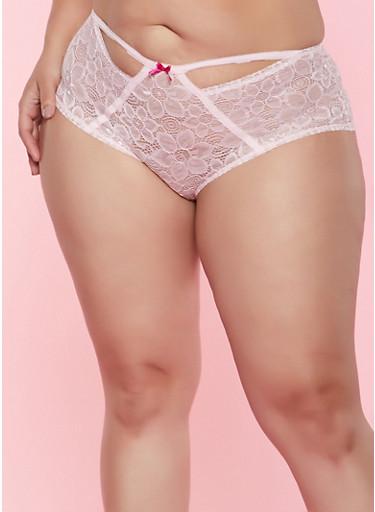 Plus Size Lace Boyshort Panty,ROSE,large