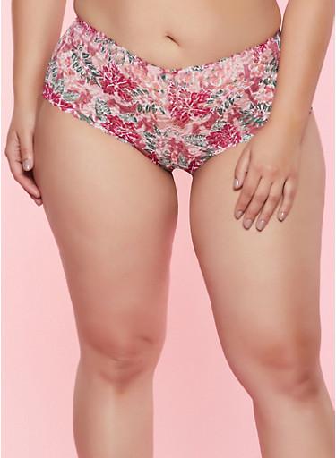 Plus Size Floral Lace Boyshort Panty,ROSE,large