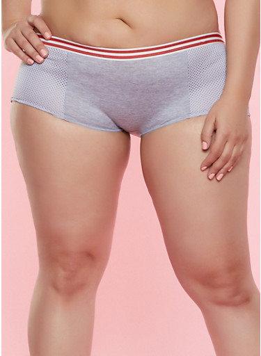 Plus Size Jersey Mesh Detail Boyshort Panty,HEATHER,large