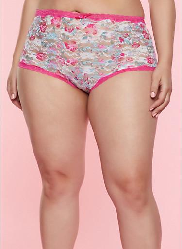 Plus Size Floral Lace Panty | 7166068064137,MAGENTA,large