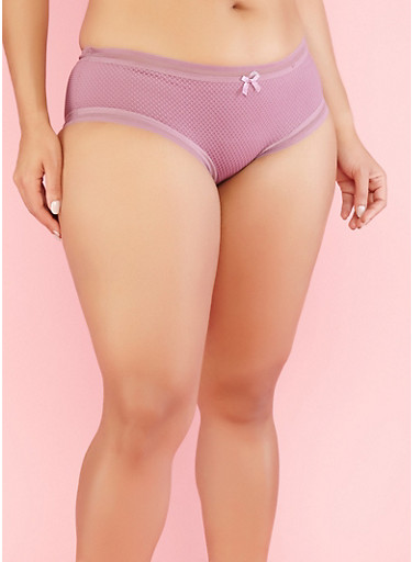 Plus Size Fishnet Boyshort Panties,LILAC,large