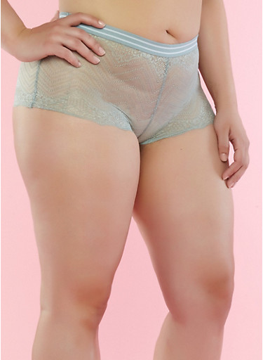 Plus Size Scallop Lace Boyshort Panties,JADE,large
