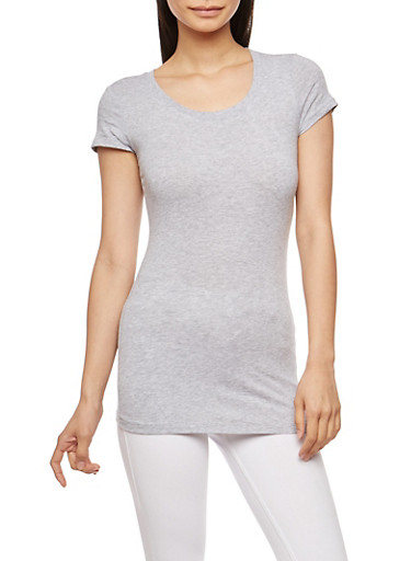 Basic Scoop Neck T Shirt,HEATHER,large