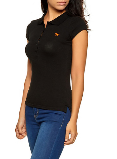 Solid Polo Shirt,BLACK,large