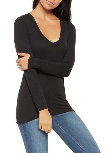 Basic Long Sleeve V Neck Tee,BLACK,large