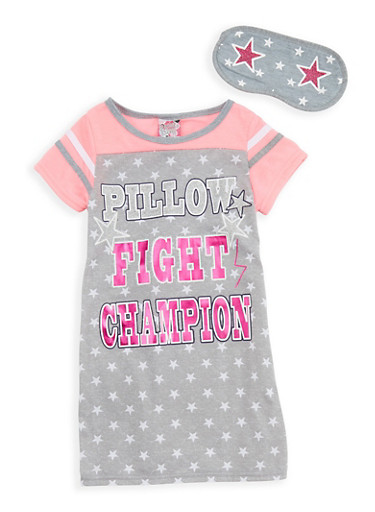 Girls 4-16 Glitter Graphic Nightgown with Sleep Mask,HEATHER,large