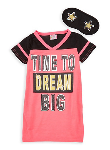 Girls 4-14 Dream Graphic Nightgown with Sleep Mask,BLACK,large