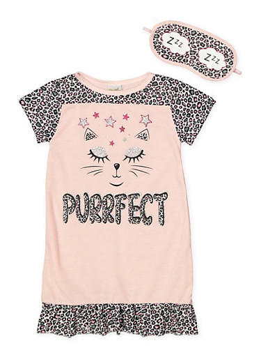 Girls 4-16 Purrfect Nightgown with Sleep Mask,BLUSH,large