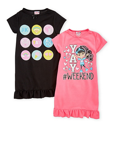 Girls 4-16 Set of 2 Graphic Nightgowns,MULTI COLOR,large