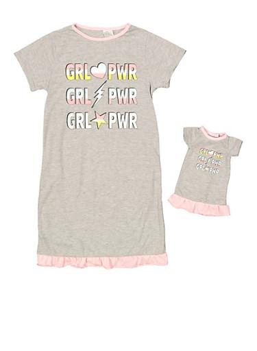 Girls 4-16 Grl Pwr Nightgown Set,GRAY,large