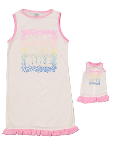 Girls 4-16 Smart Girls Rule Nightgown Set,WHITE,large