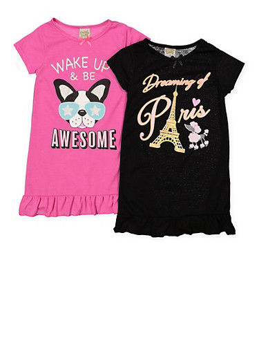 Girls 4-14 Set of 2 Graphic Ruffled Nightgowns | 7568054730337,MULTI COLOR,large