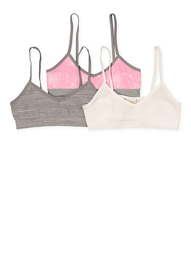 Girls 7-12 Set of Solid and Printed Seamless Cami Bras,HEATHER,large