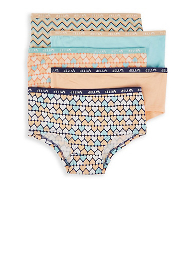 Girls 7-16 Pack Of Heart Print Panties,MULTI COLOR,large